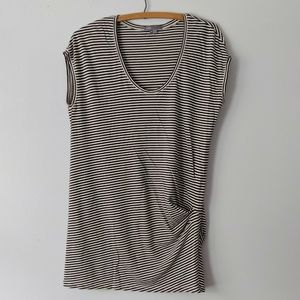 Vince Pima Cotton Stripe Gathered Side Tunic Top